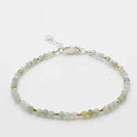 Amazonite and sterling silver adjustable bracelet