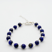 Lapis lazuli and quartz adjustable bracelet with sterling silver clasp and chain