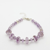 Amethyst and hematite adjustable bracelet with sterling silver clasp and chain