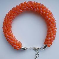 Kumihimo Bracelet Iridescent Coral