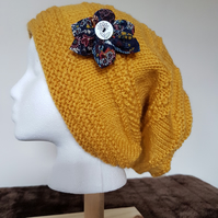 Mustard yellow hand knitted slouch beanie