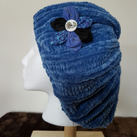 Blue, butter-soft, hand knitted slouch beanie