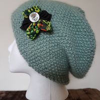 Green textured slouch beanie