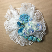 Teal Delicate lace and crochet brooch - mixed media design.