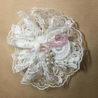 Pale Pink Delicate lace and crochet brooch - mixed media design.