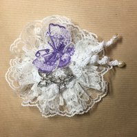 Lilac Delicate lace and Butterfly crochet brooch - mixed media design.