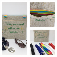 Some See Weeds - Linen Dandelion  Bag with a multi colour handle
