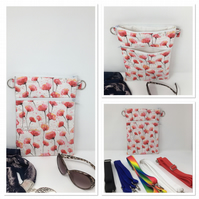 Poppy cross body Bag with a red handle