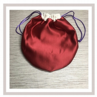 Beautiful Red Satin Circular Bag with eco friendly wipes