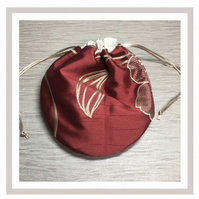Red with Gold Satin Circular Bag with eco friendly wipes