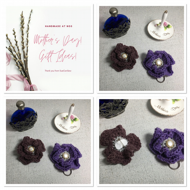 Heather Mist Crochet Flower Keychain and Brooch Set