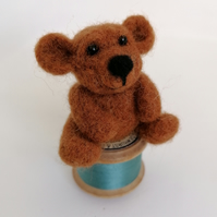 Needle Felted Teddy Bear on Cotton Reel, Ginger and Blue Green