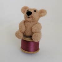 Needle Felted Teddy Bear on Cotton Reel, Beige and Rose