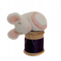 Needle Felted Sleeping Mouse on Cotton Reel, White and Purple