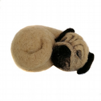 Needle Felted Sleeping Pug