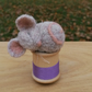 Needle Felted Sleeping Mouse on Cotton Reel, Grey and Light Purple