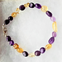 Amethyst and Citrine Bracelet in 925 Sterling Silver