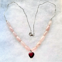 Rose Quartz and Red Tigers Eye Heart Necklace, 925 Sterling Silver