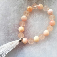Carved Rose Quartz and Two-tone Pink & White Quartz Stretchy Tassel Bracelet