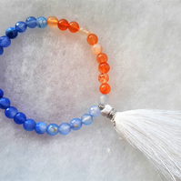 Blue and Orange Agate Stretchy Tassel Bracelet