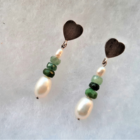 Emerald and Cultured Freshwater Pearl Earrings in 925 Sterling Silver