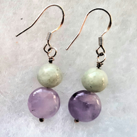 Amethyst & Jadeite Drop Earrings,925 Sterling Silver
