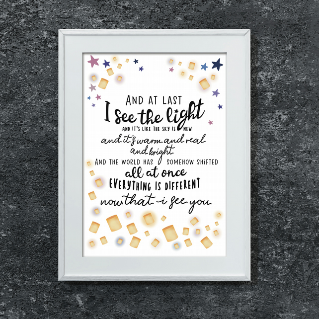 Disney Tangled Song Lyrics Print - I See the Light - Beautiful Wall Art Picture
