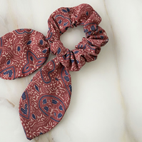 Brown Paisley Scrunchie With Bow, Decorative Hair Tie