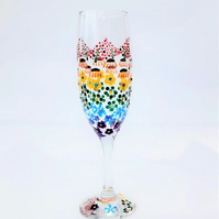 Rainbow Flowers Champagne Glass