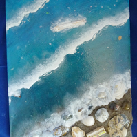 Epoxy resin art beach scene with shells, stones, wood, sand from Barmouth