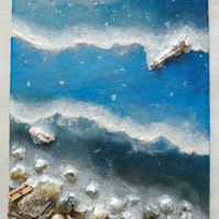 Epoxy resin art beach scene with seashells, stones, wood and sand from Barmouth
