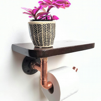 Copper Toilet Roll Holder with Shelf