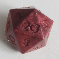 Red Brown Half Dice Medium Handmade Resin Brooch Pin Badge NEW