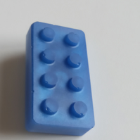 Jewellery 80's Blue Lego Brick Brooch Pin Badge Resin NEW