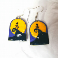 Nightmare before Christmas silhouette poster scene arch earrings