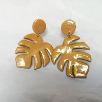 Monstera muted gold leaf earrings