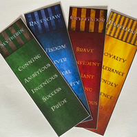 Wizarding Bookmarks - Hogwarts House Attributes