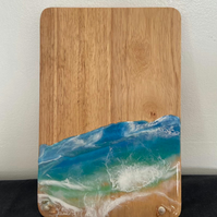 Resin seascape serving board