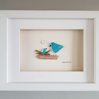 Blue Nesting Birds - Sea Glass Picture - Framed Unique Handmade Art