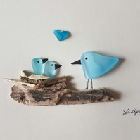Blue Nesting Birds (2 babies) - Sea Glass Picture - Framed Handmade Art