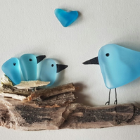 Blue Nesting Birds (3 babies) - Sea Glass Picture - Framed Handmade Art