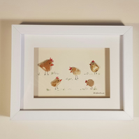 Golden Chickens - Pebble Picture - Framed Unique Handmade Art