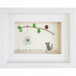 Cat Watching Bird - Sea Glass & Pebble Picture - Framed Unique Handmade Art