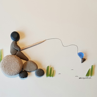 Fishing - Sea Glass and Pebble Picture - Framed Unique Handmade Art