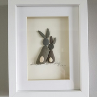 Cuddling Bunnies - Pebble Picture - Framed Unique Handmade Art