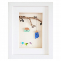 Birdhouses - Sea Glass & Pebble Picture - Framed Unique Handmade Art