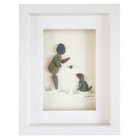 Owner and Sitting Dog - Pebble Picture - Framed Unique Handmade Art