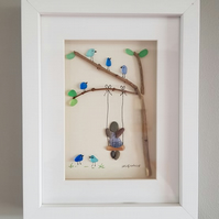 Child on Swing - Sea Glass & Pebble Picture - Framed Unique Handmade Art