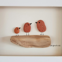 Red Birds on Branch - Pebble Picture - Framed Unique Handmade Art