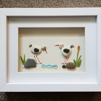 Oystercatchers - Sea Glass & Pebble Picture - Framed Unique Handmade Art